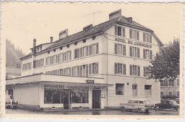 SUISSE FLEURIER Hôtel Du Commerce Café Restaurant H Huguenin , Façade Boucherie Charcuterie ,voitures Année 1950 - NE Neuchatel