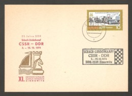 DDR 1974 Zinnowitz - Chess Cancel On Commemorative Card - Scacchi