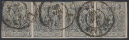 """Petit Lion - N°22 En Bande De 4 Obl Double Cercle """"Louvain"""" (1866) / Ensemble Obl Cote 950 ! Superbe - 1866-1867 Petit Lion (Kleiner Löwe)"""