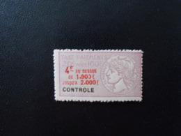 FRANCE  YT 12 TIMBRE FISCAL TAXE SUR LES PAIEMENTS 6f Lilas** - Revenue Stamps