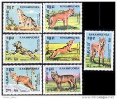 534 Cambodge Chiens Dogs Hunde Loup Wolf Renard Fox MNH ** Neuf SC (KAM-12b) - Dogs