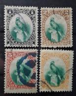 GUATEMALA 1881, Oiseau Quetzal, UPU , 4 Timbres Yvert No 22, 23, 24, 26 , Obl ,  TB - Guatemala