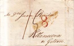 Prefilatelia Año 1814 Carta De Alicante A Villanueva Y Geltru    Marcas Nº9 Alicante Y Porteo  Rojo 8 Carta FACTURA - ...-1850 Prefilatelia