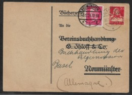 1928 SCHWEIZ / Dt.REICH -CH BÜCHERZETTEL 20R 30.X.23 N. NEUMÜNSTER - 15Pf Dt.R 3.12.28 Zurück N. BASEL - Deutschland