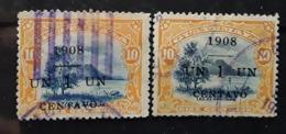 GUATEMALA 1908 , Lac D' Amatitlan , 2 Nuances Du No 138 Dont  Surcharge Décalée,   Obl TB - Guatemala