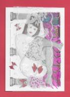 Illustrateur Jean Luc Perrigault.Femme Aux Papillons Et Dentelle - Autres Illustrateurs