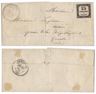 [832] - Lettre De CROLLES D'ISÈRE à Grenoble - Cachet Type 24 - 20-09-1870 - Avec Y&T Taxe N°3 - Marcophilie (Timbres Détachés)