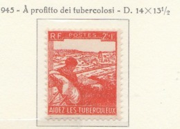 PIA - FRANCIA : 1945 : A Profitto Dei Tubercolosi - (Yv 736) - Malattie