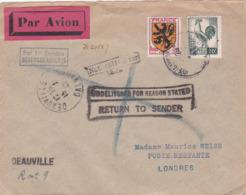M 13 FLANDRE 602 + COQ VERT NOIR DEAUVILLE POUR LONDRES 15/7/1947 - Marcofilie (Brieven)