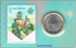 SAN MARINO - COINCARD NR 3 - 1 € 2019 BU + POSTZEGEL - San Marino