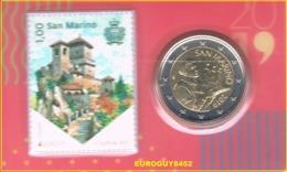 SAN MARINO - COINCARD NR 4 - 2 € 2019 BU + POSTZEGEL - San Marino