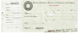 Cheque , BESCL , Banco Espirito Santo E Comercial De Lisboa - Cheques En Traveller's Cheques