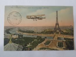 Aout 1911 - Cachet Sommet De La Tour Eiffel Pour Puteaux - TP Semeuse N°135, TAD - Aéroplane, Avion - Postmark Collection (Covers)