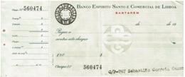 Cheque , BESCL , Banco Espirito Santo E Comercial De Lisboa - Santarém - Cheques En Traveller's Cheques