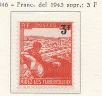 PIA - FRAN : 1946 : A Profitto Dei Tubercolosi - Francobollo Del 1945 Con Nuovo Valore In Sovrastampa - (Yv 750) - Malattie