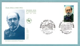 FDC France 2002 - Emile Zola - YT 3524 - 78 Médan - 2000-2009