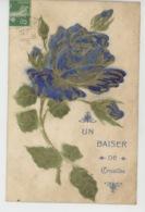 """CROISILLES - Jolie Carte Fantaisie Gaufrée Fleur Rose """"Un Baiser De CROISILLES """" (embossed Postcard) - Croisilles"""