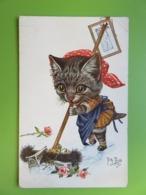 Allemagne - CPA Bonne Année Arthur Thiele - Chat Femme De Ménage - Série 1424 - Thème Chats - Non Circulé - Thiele, Arthur