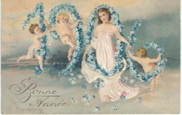 Bonne Année 1906 - Superbe CPA Gaufrée - Cachet De La Poste 1905 - Neujahr