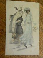 TRES BELLE CARTE D'ILLUSTRATEUR DE 1903 JEUNE DAME AVEC UN GRAND LAPIN HUMANISE-STYLE ALICE ET LE LAPIN BLANC - 1900-1949