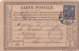M 13  CARTE PRECURSEUR MEILLERAIE DE BRETAGNE LE 6/6/1878 - Marcofilie (Brieven)