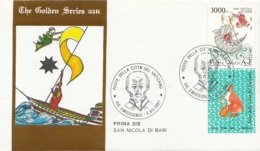 Vaticano 1987 Uf. 827 San Nicola Da Bari Myra FDC Prime Die Golden Series Con Certificato - FDC