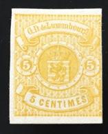 1875 5c Citron Essai Non Dentelé Papier Carton, Mi 30a (Luxemburg Luxembourg Yv. 29 Essay Probedruck - 1859-1880 Stemmi
