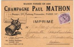 CARTE COMMERCIALE ILLUSTREE  PUB CHAMPAGNE PAUL MATHON PARIS - Marcophilie (Lettres)