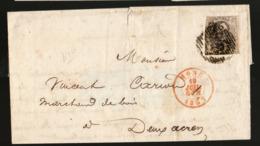 COB 6 Leopold I Sur Lettre De Mons Vers Deux-Acren - 1851-1857 Medaillen (6/8)