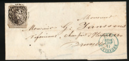 Leopold I COB 6 4marges+ Voisin Sur Lettre SUPERBE - 1851-1857 Medallones (6/8)