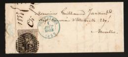 Leopold I COB 6 Oblit 24 Sur Lettre - 1851-1857 Medaillen (6/8)