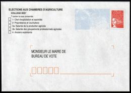 B-002G- Marianne De Luquet, La Poste, Repiquage élections Aux Chambres D'agriculture. - Entiers Postaux