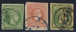 Lotto Di 3 Valori Annullati - 1861-86 Grande Hermes