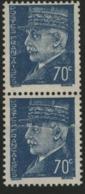 N° 510, IMPRESSION SUR RACCORD / Paire Verticale Du 70c Bleu Type Pétain. Neuf Avec Charnière * MH - Curiosities: 1900-20 Mint/hinged
