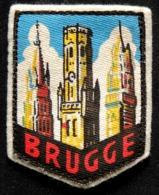 Patch Écusson Tissu Touristique : Belgique - Bruges - Brugge - Le Beffroi - écusson Sur Feutrine Blanche - Ecussons Tissu
