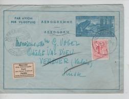 PR7269/ Entier Aérogramme 5+TP 859 C.Vilvoorde 3/3/58 > Verbier Suisse étiquette Trilingue Parti Sans Laisser D'adresse - Stamped Stationery