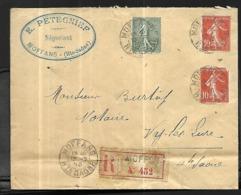 France Lettre Recommandée Du 13   07  1915 De  Moffans      Pour Vy Les Lures En Haute Saône - Francia