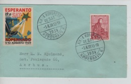 PR7270/ Denmark Cover C.XIX A Kongreso De Sat Kopenhago 1939 > Aarhus + Cinderella Esperanto - Esperanto