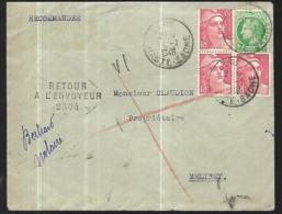 France Lettreen Recommandée     Du 14 01   1948    De  Lure Pour Mélisey  Retour à L' Envoyeur - Francia