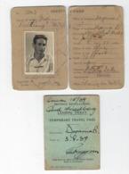 JUDAICA  BRITISH PALESTINE GOVERNMENT  ID IDENTITY CARD  & DEFENCE REGULATIONS LANDING TICKET TEMPORARY TRAVEL PASS 1939 - Historical Documents