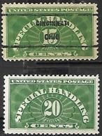 US Special Handling 1925    Sc#QE2   15c  Used Precancel & QE3 20c MH 2016 Scott Value $4.65 - Parcel Post & Special Handling