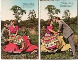 """Couple D' Amoureux Avec """"Vespa"""" Voyage A Deux - 2 Cartes (116621) - Koppels"""