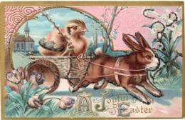 LAPIN A Comportement Humain - Attelage Avec Poussin - CPA Gaufrée, Pailletée Et Rehaussée Or  (116625) - Tierwelt & Fauna