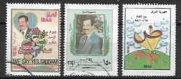 IRAQ     -   Anniversaire De Sadam Hussein.  3 Valeurs .  Oblitérés - Iraq