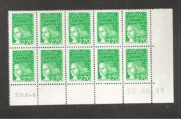 France, Coin Daté, 3091b, Type II, CD De 10, Neuf **, TTB, Marianne De Luquet - 1997-04 Marianna Del 14 Luglio