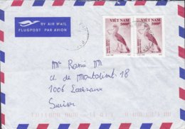 Vietnam Air Mail Flugpost Par Avion 1995? Cover Lette LAUSANNE Schweiz 2x 5000D Bird Vogel Oiseau (Cariama Cristata) - Vietnam