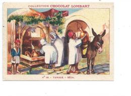 Chromo TUNISIE Béja Fontaine Didactique Au Dos Colonies Françaises Pub Chocolat Lombart 2 Scans TB - Lombart
