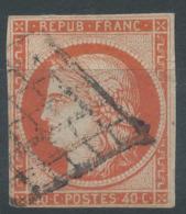 Lot N°51098  N°5a Orange Vif, Oblit Grille De 1849, - 1849-1850 Cérès