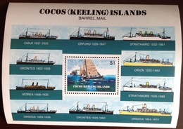 Cocos Keeling 1984 Barrel Mail Ships Minisheet MNH - Cocos (Keeling) Islands