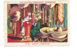 Chromo Tunisie Tunis Marchands Didactique Au Dos Colonies Françaises Pub Chocolat Lombart 2 Scans TB - Lombart